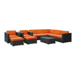 LexMod - Avia 10 Piece Outdoor Patio Sectional Set in Espresso Orange - Surround yourself with a modern landing pad of exploration. Positioned to advance your outdoor patio, backyard, or pool area, Avia helps you bestow acceleration to your outward achievements and social celebrations.