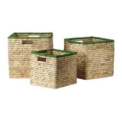 Serena & Lily - Nantucket Bins  Grass (Set of 3) - High-def color turns simple baskets into statement storage. Chunky seagrass coils are wrapped by hand in dyed palm leaves and then tightly wound around and around to create the super-sturdy shape. The natural texture creates slight variations in color that make each basket all the more unique. Designed to nest if need be, all three sizes have cutout handles. The medium-sized bin fits perfectly in our Lark Shelf and our Campaign Storage Bench.