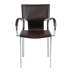 Euro Style - Vinnie Arm Chair (Set Of 2) - Brown Leather/Chrome - Leather might be at the top of your list and the Vinnie collection delivers. The clever uniqueness of these chairs is in the slim, cutaway leather on the seat back. It's a pleasing shape for a very popular grouping.