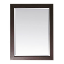 """Lamps Plus - Contemporary Modero Espresso 32"""" High Rectangular Wall Mirror - Complete a bedroom or living room decor or dress up an entryway with this gorgeous rectangular wall mirror. The Modero mirror is crafted with solid birch wood and presented in an espresso finish. Features a smooth classic frame and a large beveled mirror pane. With a wood cleat on the back for easy hanging. Can be hung only vertically. Solid birch construction. Espresso finish. Beveled mirror pane. Mirror glass only is 27 1/2"""" high 23 1/2"""" wide. 32"""" high. 28"""" wide. 1 1/4"""" deep. Hang weight of 30 lbs.  Solid birch construction.   Espresso finish.   Beveled mirror pane.   Mirror glass only is 27 1/2"""" high 23 1/2"""" wide.   32"""" high.   28"""" wide.   1 1/4"""" deep.   Hang weight of 30 lbs."""