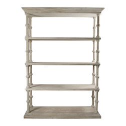 Roman Bookcase with a Medium Antique Painted Finish - Provide books with a sturdy and traditional storage space, without depriving the ornaments on display of full light to enhance their visual qualities.  The Reclaimed Lumber Roman Bookcase exquisitely combines the airy construction of open-sided shelving with the elegance of Classical motifs, plus the depth and versatility of a neutral, antiqued wash over grained wood.  Its slender column-shaped sides, with mirrored molding on the crown and at the floor, are quietly breathtaking.