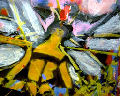 """""""Wings ( From Small Metanoia Series), Mixed Media"""" - """"Giclee print on archive paper,  with  one-of-a kind detailed enhancement of oil pastel ( & because of the enhancement, no two prints are exactly alike).You can see texture of the canvas and paint in this miniature which depicts woman who finds her wings as she confronts dimension of time. 8 X 6 inch image on 8 x 10 archival watercolor paper. No mat. No frame. """""""
