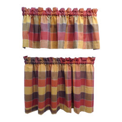 None - Harris Spice Plaid Rod Pocket 3-piece Tier and Valance Set - This georgeous Woven 3 Piece Tier Set comes complete with two tiers and one valance and is the perfect curtain set for kitchens, dens and ground floor windows. The high quality, natural cotton blend fabric is specially woven to help filter outside light.