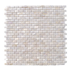 "Mini Brick Oyster White Pearl Tile Mini Brick Pattern - Mini Brick Oyster White Pearls Glass Tile This captivating pearl tile in shades of white is artfully arranged in a classic brick pattern. The pearl shell glass will add a durability and lasting exquisiteness to your kitchen, or fireplace installation. These tiles are mesh mounted and will bring a sleek and contemporary clean design to any room. Chip Size: 1/4"" x 1/2"" Color: White Material: Pearl Shell Glass Finish: Polished Sold by the Sheet - each sheet measures 12"" x 11 5/8"" (.97 sq. ft.) Thickness: 1mm Please note each lot will vary from the next. This tile is not recommended to be installed in a shower, shower floor or pools."
