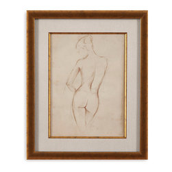 Bassett Mirror - Bassett Mirror Framed Under Glass Art, Antique Figure Study II - Antique Figure Study II