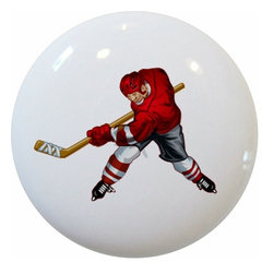 Carolina Hardware and Decor, LLC - Red Hockey Player Ceramic Knob - 1 1/2 inch white ceramic knob with one inch mounting hardware included.  Great as a cabinet, drawer, or furniture knob.  Adds a nice finishing touch to any room!