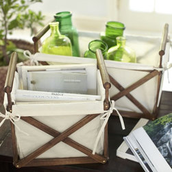 Canvas & Wood Crate - The crossbars on these crates are such a great detail. These would provide excellent storage for all the extra TP rolls in the bathroom.