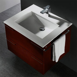 Vigo Industries - Vigo 31 in. Single Bathroom Vanity in African - 1 Large sliding drawer made with soft closing hardware. Under mount ceramic sink. White counter-top. Anti-scratch paint surface. 90-Degree wrap around hand towel rack on each side. African Walnut finish. 5-Year limited warranty. Cabinet including towel rack: 31 in. W x 23 in. D x 20.75 in. H. Product specification and assembly Make a statement with this stylish Vigo bathroom vanity. No other brand can match Vigo's style, quality and design.