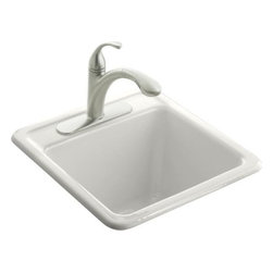 """Kohler - Kohler K-6655-1-0 White Park Falls Park Falls smaller size utility - The smaller size of the Park Falls utility sink makes it a perfect fit for compact spaces. Constructed of durable KOHLER(R) Cast Iron, this self-rimming model features one-hole faucet drilling.  21"""" x 22""""  12-5/8"""" depth  Self-rimming  One-hole faucet drilling"""