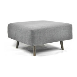 Vertuu Design - Jaco Bench - Decorate your living or dining room using the simple and chic Jaco Bench. With short wood legs and textured gray fabric, this square bench makes a perfect footstool or low seat. Display it alongside other transitional design elements for a polished, cohesive look.