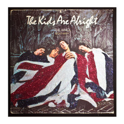 """Glittered Who Kids are Alright Album - Glittered record album. Album is framed in a black 12x12"""" square frame with front and back cover and clips holding the record in place on the back. Album covers are original vintage covers."""