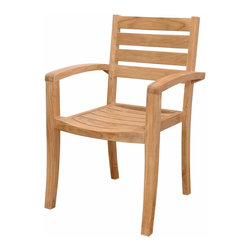 "Anderson Teak - Catalina Stackable Armchair - Our Teak Stacking Chair is a versatile design, which makes this most popular. Simple and stylish for all your outdoor needs. Compliments all of our Teak Dining, Coffee and Folding Tables. Can easily stack four chairs high. It is a beautiful addition to your garden, backyard or patio furniture. Easy to storage, just stack it and you will save place. All furniture arrives at your home Fully Assembled in its ""Natural"" unfinished state. Cushion is optional and is being made by order. Fully Built & 4 pcs in a box."