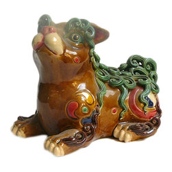 Golden Lotus - Chinese Color Ceramic Mouse Rat Accent Home Figure - This is a traditional Chinese handcrafted decorative oriental style Mouse Rat figure with detail scroll curl hair pattern.