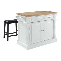 Crosley Furniture - Butcher Block Top Kitchen Island with Saddle - Includes two stools. Fully functional doors and drawers on both sides. Butcher block top. Two towel bars. Brushed nickel hardware. Carved column accents. Two adjustable shelves behind doors. Stool with black upholstered seat. Warranty: 90 days. Made from solid hardwood and wood veneers. White finish. Made in Vietnam. Stool height: 24 in.. Overall: 48.25 in. W x 23 in. D x 36 in. H (143 lbs.). Assembly instructions - Kitchen Island. Assembly instructions - StoolThis kitchen island is designed for longevity. The handsome raised panel doors and drawer fronts provide the ultimate in style to dress up any culinary space. Great for food preparation. Deep push-through drawers are great for holding essential items, such as utensils or storage containers. Style, function, and quality make this kitchen island a wise addition to your home.