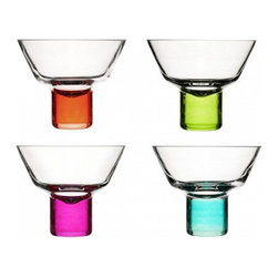 Sagaform - Club Martini Glasses - These aren't your ordinary martini glasses. Each glass is carefully crafted via hand-blown techniques for a beautifully unique form. The Club Martini Glasses will lend any festivity a pop of bright, vibrant color for an unforgettable gathering!