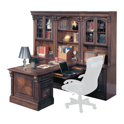 Parker House - Huntington 7-Piece Dual Desk Office Wall with Rolling File in Vintage Pecan - Parker House Furniture is a family owned company offering high quality home office and home entertainment furniture since 1946. They are committed to offering 100% customer satisfaction and make customer service a number one priority. Parker House Furniture manufactures luxurious collections in a variety of rich finishes that are accented with classy details. Wide range of entertainment centers, home office furniture, library walls, and a great selection of media centers are just some of the items they provide to make you home beautiful and unique.