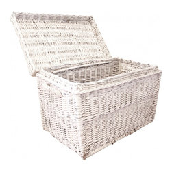 White Wicker Trunk - Hinged lid.  No signs of damage, only vintage loveliness.