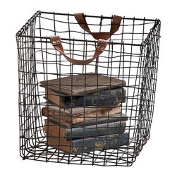 Square Wire Baskets - Set of 5 - Irregular woven wire coupled with distressed leather handles add a charming appeal to these Square Wire Baskets. Cubist lines give a more modern textural appeal, but these baskets, which include a set of five, are as versatile as they are stylish. Add a few to a spare room to keep spare blankets or books in, or place a few in your study - along with a cabinet of intriguing objects for a stunningly styled space now with additional storage.