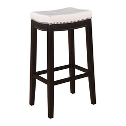 "Linon Home Decor - Linon Home Decor Accent Chair X-U-DK-10-UPTHW61855 - The Claridge Patches White Bar Stool will add stylish seating to any bar or high top table. The sturdy wood frame has  a dark brown finish accented by a white vinyl upholstered seat. Nailheads trim and accent stitching adds a patchwork design to the top for an eyecatching detail. 30"" Seat Height. 275 pound weight limit."