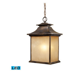 Elk Lighting - Elk Lighting San Gabriel 1-Light Outdoor Pendant in Hazelnut Bronze - 1-Light Outdoor Pendant in Hazelnut Bronze belongs to San Gabriel Collection by During The Late 1800��_��_��_��_��_��_S And Early 1900��_��_��_��_��_��_S, Missionary Padres From Spain Created The California Mission Style, Which Was A Simplified Version Of Centuries Old Spanish Architecture.��_��_��_��_��_ This Style Was Known For Its Simplicity Of Form With Minimal Ornamentation.��_��_��_��_��_ The San Gabriel Collection Pays Homage To This Design Philosophy With Smooth, Architectural Lines And A Choice Of Hazelnut Bronze Or Tarnished Silver Finishes. - LED Offering Up To 800 Lumens (60 Watt Equivalent) With Full Range Dimming. Includes An Easily Replaceable LED Bulb (120V). Pendant (1)