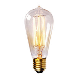 Edison ST58SD Straight Tungsten Filament 40W Light Bulb, Brass Light Bulb - Enjoy a touch of period home ambience with one of our vintage Edison bulbs. Its diamond filament and slight tint creates a warm and welcoming glow that provides authenticity to any sophisticated interior.Faithfully recreated from historic designs, these light bulbs look great in any exposed light socket such as chandeliers, sconces or socket pendants. Brass E26/E27 screw base with clear glass bulb will assure them a 3000 hours average service life.