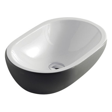 Maestrobath - Midas Ceramic Sink, White Anthracite Grey - Give your bathroom an updated, stylish look with this oval ceramic ultra modern vessel sink. This luxury bathroom sink, Midas, is available in eleven different colors suitable for any powder room. This modern sink is easy to install and maintain. Maestrobath ceramic vessel sink line is ADA Compliant. Whether your decorating style is traditional or modern, Maestrobath products will compliment your home improvement project and add a lavish, luxurious feel while protecting your health, safety and the environment.