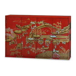 """China Furniture and Arts - Chinoiserie Motif Wall Media Cabinet - Depicting a hand painted scene of a Chinese spring festival, this wall cabinet will adequately house a flat screen television and add style to your viewing space. Double-hinged doors fold to the sides for unobstructed viewing to reveal a spacious interior that measures 54""""W x 7""""D x 32""""H. Mounting wares are included. Matte red finish. Fully assembled."""
