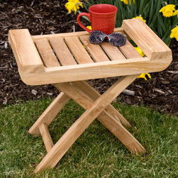 Teak Outdoor Seat - This Teak Outdoor Seat conveniently folds flat for storage, and is compact enough to easily move from one area to another. Featuring raised sides for added stability, this stool is naturally unsealed, but can be easily finished if desired.