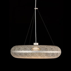 Louis Poulsen - Louis Poulsen Aeros Pendant Lamp - The fixture emits warm diffused light directed primarily downwards. The reflector design is based on the organic Fibonacci pattern and provides a rare and appealing light distribution, as well as a decorative effect on the fixture. The organically inspired perforation pattern on the body of the fixture also provides an interesting and mystical lighting effect. The fixture has an almost three-dimensional expression, which makes it appear to float in the room. The fixture is available in gold sand or white with a wet painted finish. The fixture is suspension mounted with three stainless steel aircraft cables. The wire connector is created in turned aluminum. Shades are created in deep drawn aluminum. Diffuser is created in acrylic satin glass. Lamp requires one 75W T-4 GY6.35 halogen bulb. Suitable for dry or damp locations. UL listed. Manufactured by Louis Poulsen.