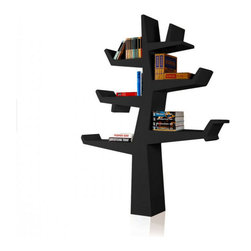 Modern Bookcase, Black - This modern bookcase holds books, objects and souvenirs in an unusual, simplified tree shape.