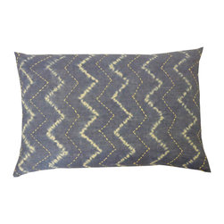 JITI - Tie-Dyed Denim Pillow - The 1960s may be in the past, but this tie-dyed denim pillow is very now. A contemporary take on the classic theme, this rectangular cotton pillow is filled with a plush feather and down blend.