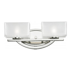 Two Light Chrome Frosted White Inside And Clear Outside Glass Glass Vanity - A double vanity light displayed in square cube glass shades frosted white inside and clear outside, with a chrome finish for a fresh and modern look.