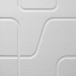 IDS Group - 2x2 White Decorative Ceiling Tiles, Memphis Design - Total Coverage: 32 SqFt (Box of 8)
