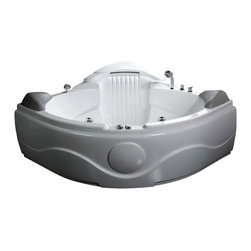 EAGO - EAGO AM505HO 61 Rounded Corner Waterfall Whirlpool Bath Tub w Inline Heate - We are very excited to offer you this breath taking AM505 EAGO whirlpool bath tub! Filled with cool gadgets and effects like the built in stereo waterfall and bottom jets. This tub features a beautiful design which will add the finishing touches to any bathroom. We are confident that you will indulge in a state of complete relaxation and tranquility with all the features that this tub has to offer. Be prepared to purchase luxury at its finest!
