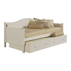 Hillsdale - Hillsdale Staci Wood Daybed in White Finish with Trundle - Hillsdale - Daybeds - 1525DBT - The Hillsdale Staci Daybed is constructed of solid wood and climate controlled wood composites in a white finish. It features a beadboard design with a gently arched backrest and a roll-out trundle. This twin size daybed includes slats to eliminate the use of a box spring. Extend its versatility by using it as a sofa in the home office or combining the roll-out trundle in the guest room for even more sleeping space. The space saving roll-out trundle includes casters for easy setup and supports a standard twin size mattress. Distinctly cottage in style the Staci Daybed is sure to make any room in your home inviting and comfortable.