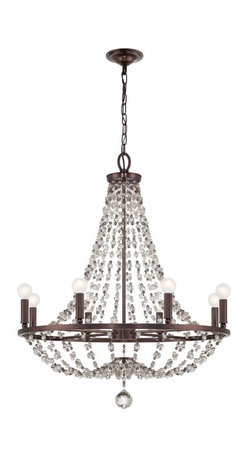 """8 Light 28"""" Chocolate Bronze Chandelier with Hand Cut Crystal Beads - If you are looking for a gorgeous chandelier, look no further.  This chandelier will compliment any home!"""