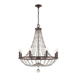 "8 Light 28"" Chocolate Bronze Chandelier with Hand Cut Crystal Beads - If you are looking for a gorgeous chandelier, look no further.  This chandelier will compliment any home!"