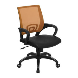 Flash Furniture - Mesh Back Office Chair w Casters - Ergonomically contoured back. Nylon arms. Black leather seat. Foam padding over plywood seat. Pneumatic seat height adjustment. Heavy duty nylon base. Chrome plated accents on base. Spring tilt control mechanism. Tilt tension control. Dual wheel casters. Warranty: 2 year limited. Assembly required. Back: 19.75 in. W x 19.75 in. H. Seat: 19 in. W x 21 in. D. Seat Height: 17.5 - 20.75 in.. Arm Height from Floor: 24.5 - 27.75 in.. Arm Height from Seat: 6.75 in.. Overall: 24.5 in. W x 22.5 in. D x 36.25 - 39.5 in. H (29 lbs.)