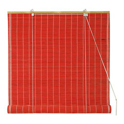 Oriental Furniture - Bamboo Roll Up Blinds - Red 60 Inch, Width - 60 Inches - - Bamboo roll up blinds are a versatile addition to any window.  They will fit in with any decor and are available in a wide variety of sizes.   Easy to hang and operate.  Available in five sizes, 24W, 36W, 48W, 60W and 72W.  All sizes measure 72 long. Oriental Furniture - WT-YJ1-8B6A1-60W