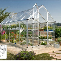 Palram - Palram Snap & Grow 6 x 12 ft. Greenhouse - Silver - HG6012 - Shop for Greenhouses from Hayneedle.com! Additional FeaturesGorgeous easy-to-assemble greenhouseWindow features weather-strippingAdjustable roof ventilation keeps plants healthyHeavy duty aluminum frameGreat for growing in all climatesBeautiful silver frameLimited 5 year warrantyDesigned to look complex and beautiful the Palram Snap & Grow 6 x 12 ft. Greenhouse is easy to assemble so you'll be ready to grow your own plants in no time. The crystal-clear SnapGlas panels lock into place easily and are virtually unbreakable. You'll get easy access and ventilation thanks to the preassembled split-style door while the window has weather stripping and the roof features an adjustable vent to help keep your plants healthy. Great for growing in all seasons you'll love having plants flowers and produce just a few feet from your own front door.
