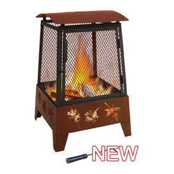 Landmann Haywood Leaves Fire PIt - Square firebox with cutout patterns