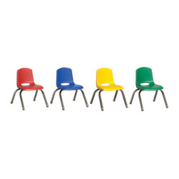 """Ecr4kids - Ecr4Kids Preschool 14"""" Stack Chair Assorted - Chrome Legs With Glide 6 Pack - Innovative school stack chair features a molded seat with vented back, reinforced ribbing in back and under seat for strength, steel legs with steel lower back support. No penetration of screws through the seat surface. Composite ball glides for durability and protection on hard floors and carpet."""
