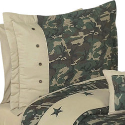 Sweet Jojo Designs - Camo Green Pillow Sham - The Camo Green standard pillow sham coordinates beautifully with the Sweet Jojo Designs Camo Green bedding collection. This pillow sham is a quick and easy way to complete the look and theme in your child's bedroom. Machine washable. Fits all standard size pillows.
