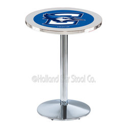 Holland Bar Stool - Holland Bar Stool L214 - Chrome Creighton Pub Table - L214 - Chrome Creighton Pub Table belongs to College Collection by Holland Bar Stool Made for the ultimate sports fan, impress your buddies with this knockout from Holland Bar Stool. This L214 Creighton table with round base provides a commercial quality piece to for your Man Cave. You can't find a higher quality logo table on the market. The plating grade steel used to build the frame ensures it will withstand the abuse of the rowdiest of friends for years to come. The structure is triple chrome plated to ensure a rich, sleek, long lasting finish. If you're finishing your bar or game room, do it right with a table from Holland Bar Stool. Pub Table (1)