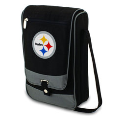 "Picnic Time - Pittsburgh Steelers Barossa Wine Tote in Black - The Barossa is so sleek and sophisticated, you'll want to take it with you every chance you get. It's made of 600D polyester and features an adjustable shoulder strap that makes it easy to carry and a flat zippered pocket on the exterior flap. The Barossa is fully insulated to keep your wine the perfect temperature and has a divided interior compartment to separate your bottle of wine from the 2 (8 oz.) acrylic wine glasses included. Also included are: 1 stainless steel waiter style corkscrew, 1 bottle stopper (nickel-plated), and 2 napkins (100% cotton, 14 x 14"", Black with silver pinstripe). The Barossa wine tote is perfect for picnics, concerts, or travel and makes a wonderful gift for those who enjoy wine.; Decoration: Digital Print; Includes: 19 stainless steel waiter style corkscrew, 1 bottle stopper (nickel-plated), and 2 napkins (100% cotton, 14 x 14"", Black with silver pinstripe)"