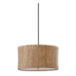 Uttermost - Uttermost Burleson 3 Lt Hanging Shade in Natural Twine - 3 Lt Hanging Shade in Natural Twine belongs to Burleson Collection by Uttermost Natural twine with an open weave construction and a beige inner liner creates a rustic yet unique appeal. Frosted glass diffuser included. Hanging Shade (1)