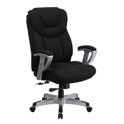 Flash Furniture - Flash Furniture Hercules Series 400 lb. Capacity Big & Tall Black Office Chair - Get the comfort needed to perform all any task in this stylish and plush padded Big and Tall Office chair by Flash Furniture. This executive chair comfortably fits users up to 400 lbs. chair features height and width adjustable arms, built-in lumbar support and a spring tilt mechanism. [GO-1534-BK-FAB-GG]