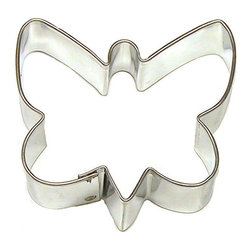 HOF - Butterfly 2.5 In.  B565 - Butterfly cookie cutter, made of sturdy tin, Size 2.5 in., Depth 7/8 in., Color silver