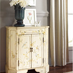 Hammary - Hammary Hidden Treasures T73698-11 Two Door Cabinet Multicolor - T73698-11 - Shop for Cabinets from Hayneedle.com! Add a touch of classic elegance to your living space with the Hammary Hidden Treasures T73698-11 Two Door Cabinet. This wood accent piece is perfect for display and storage in most any room. Its hand painted bird and vine motif paired with light distressing gives it vintage appeal. Antiqued brass pulls open dual doors revealing spacious interior storage.About Hammary Furniture CompanyHammary Furniture Company was started in 1943 by furniture craftsman Hamilton Bruce. The name Hammary is a combination of Hamilton and Mary (Hamilton's wife's name). Hammary is now a division of La-Z-Boy Incorporated and they specialize in providing quality home furniture for today's modern families and homes. Hammary offers a variety of occasional table styles and other furniture for home office casual dining and bedroom in all shapes sizes and materials.