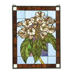 "Meyda - 20""W X 26""H Revival Mountain Laurel Stained Glass Window - Bring home a cluster of mountain laurel flowers on a clear blue background with this elegant stained glasswindow."